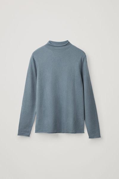 COS default image 1 of 블루 in 캐시미어 모크넥 스웨터