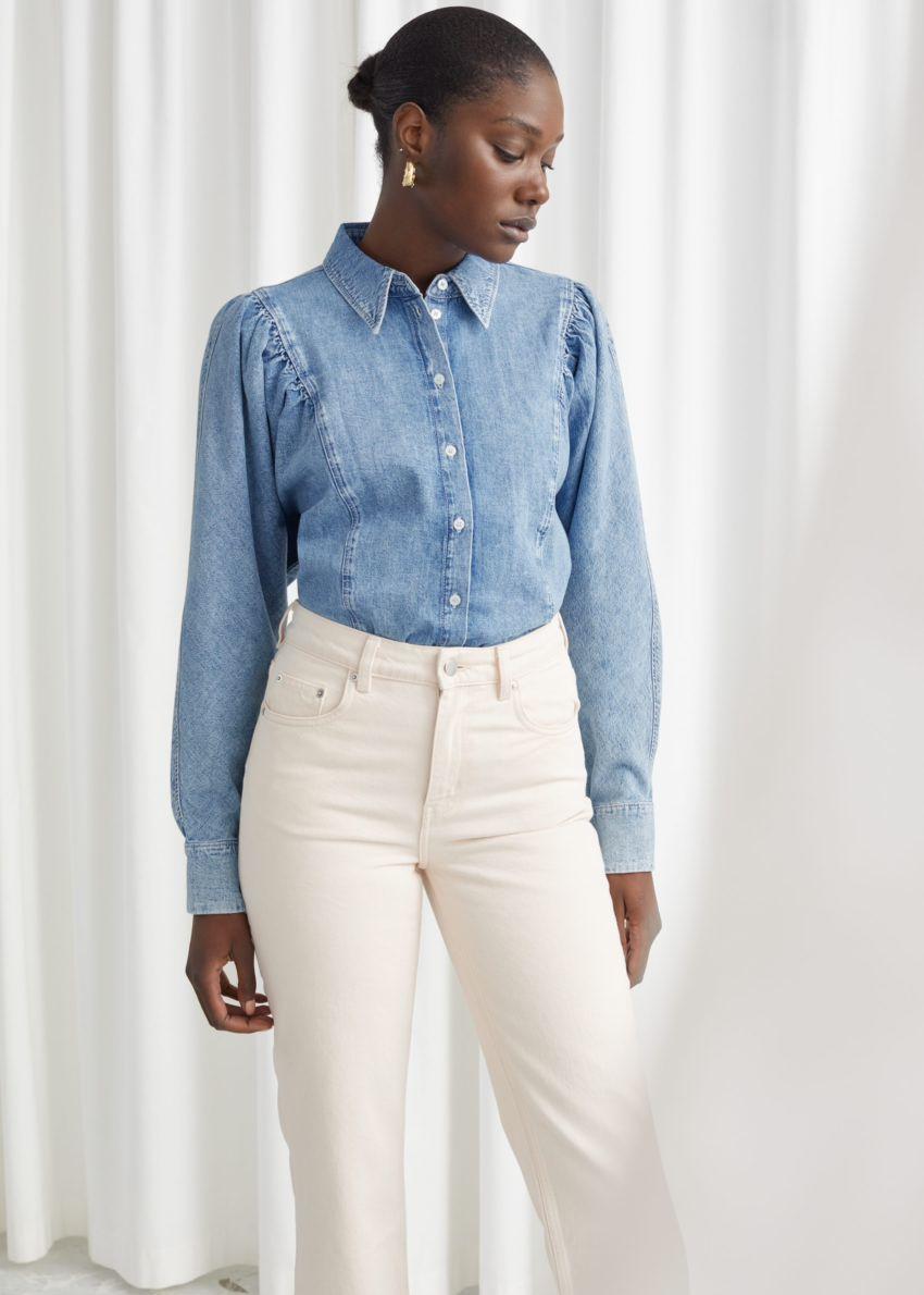 앤아더스토리즈 퍼프 숄더 데님 셔츠의 라이트 블루컬러 ECOMLook입니다.