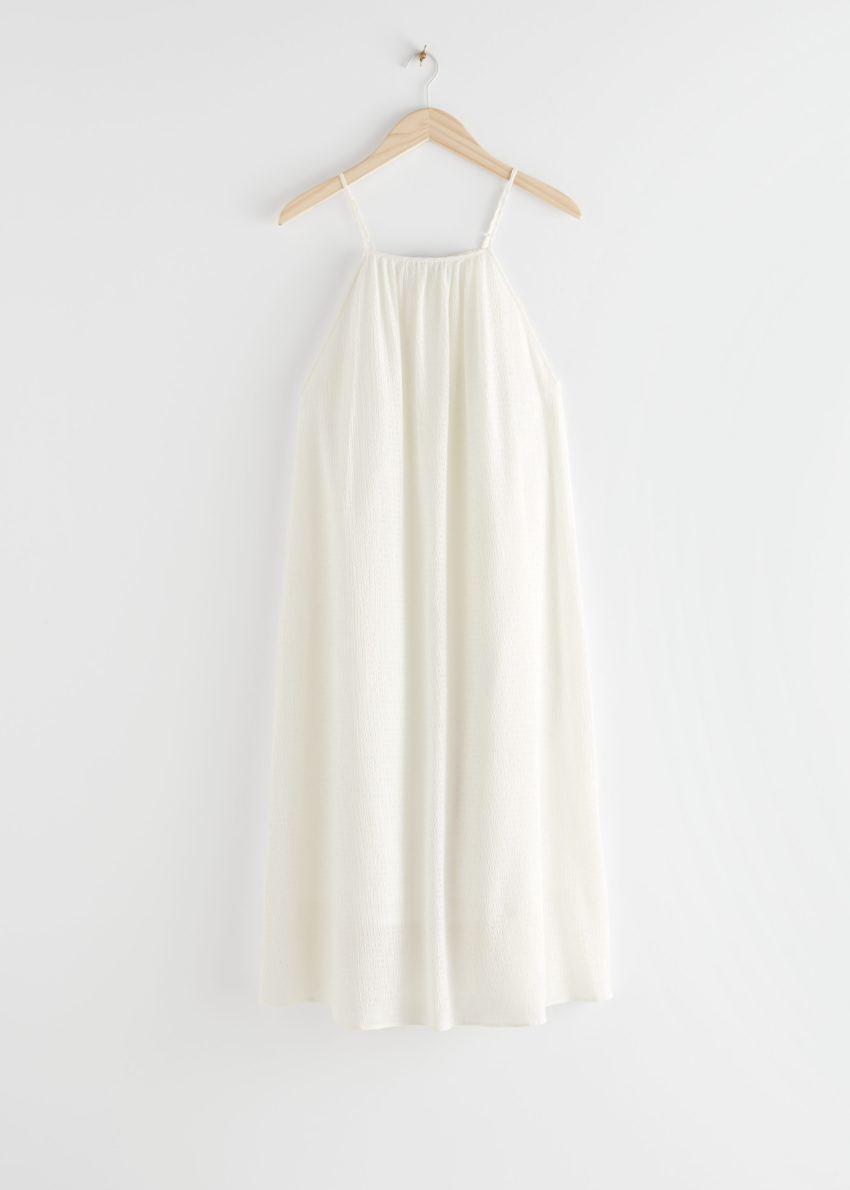 앤아더스토리즈 스파게티 스트랩 크레이프 미디 드레스의 화이트컬러 Product입니다.