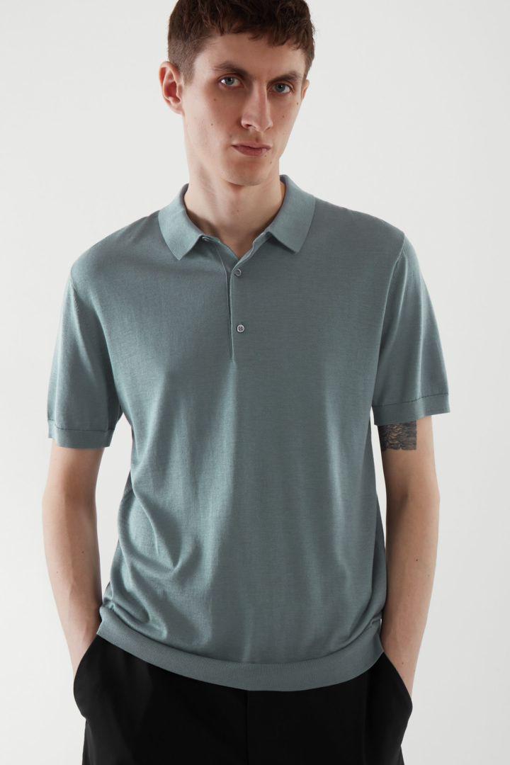 COS default image 7 of 블루 in 실크 코튼 니트 폴로 셔츠