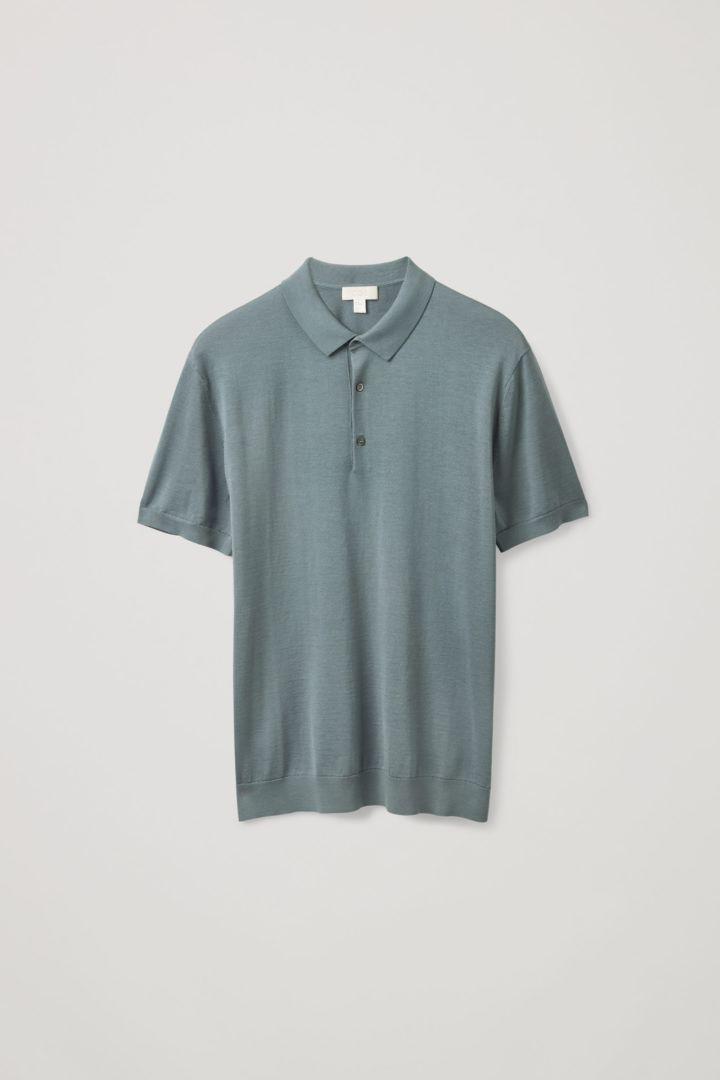 COS hover image 7 of 블루 in 실크 코튼 니트 폴로 셔츠