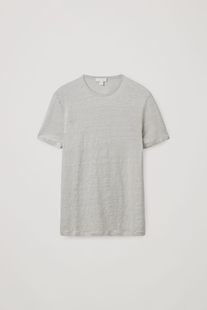 COS 레귤러 핏 리넨 티셔츠의 그레이컬러 Product입니다.