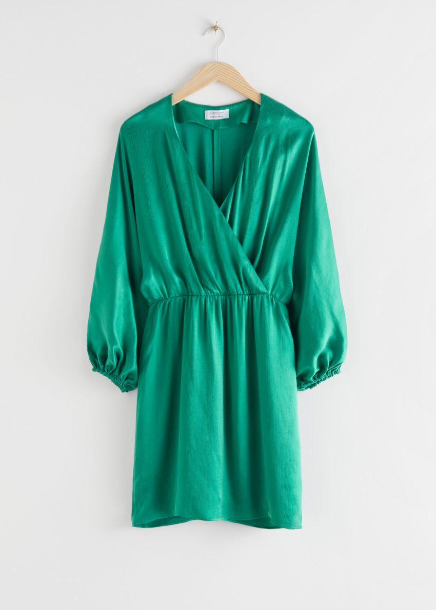 앤아더스토리즈 볼류미너스 슬리브 미니 드레스의 그린컬러 Product입니다.