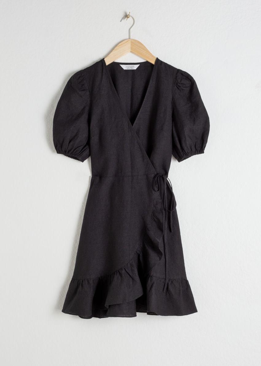 앤아더스토리즈 퍼프 슬리브 리넨 랩 미니 드레스의 블랙컬러 Product입니다.