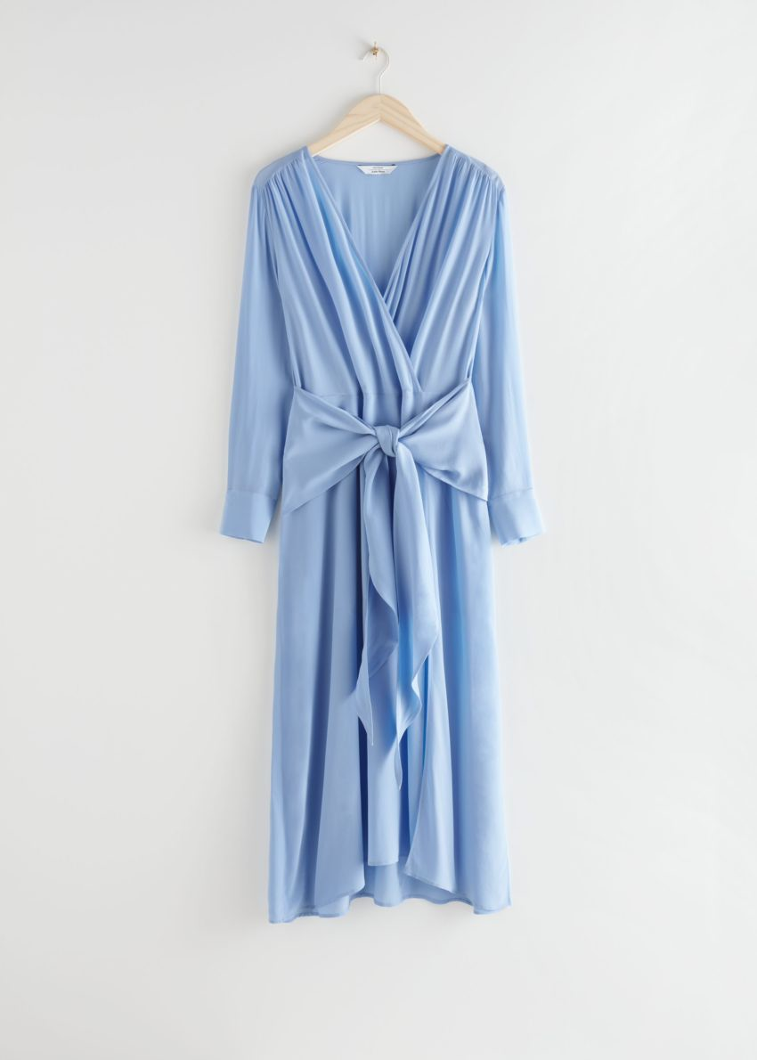 앤아더스토리즈 스카프 타이 플로위 미디 드레스의 블루컬러 Product입니다.