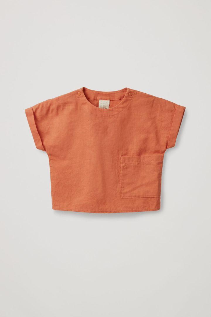 COS 쇼트 슬리브 코튼 리넨 탑의 오렌지컬러 Product입니다.