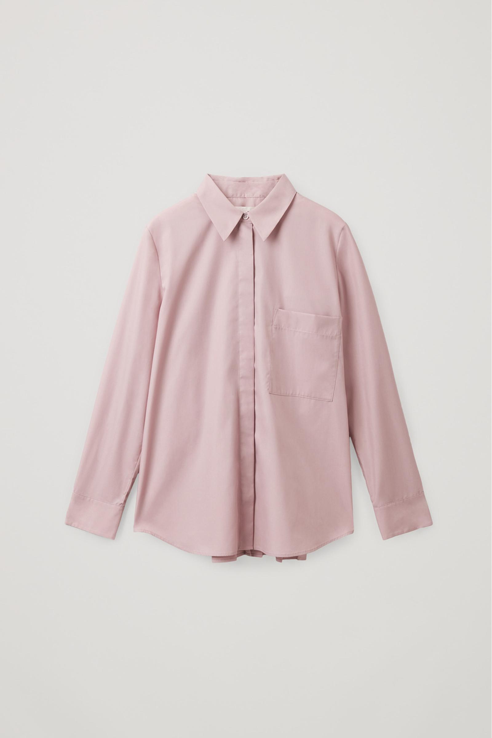 COS 오가닉 코튼 플리티드 튜닉 셔츠의 퍼플컬러 Product입니다.