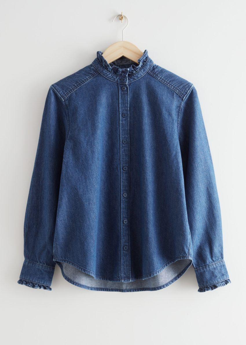 앤아더스토리즈 러플 데님 셔츠의 블루컬러 Product입니다.