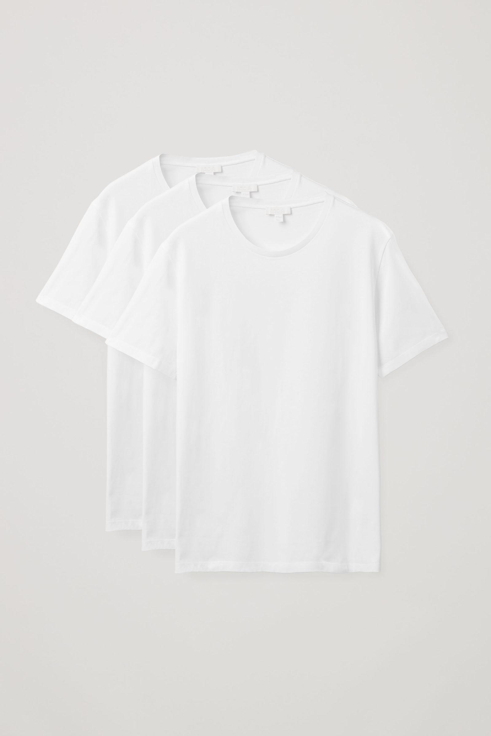 COS 레귤러 핏 티셔츠 3팩의 화이트컬러 Product입니다.