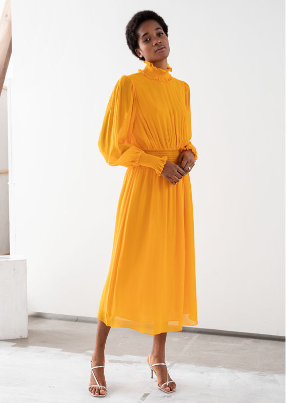 &OS image 8 of 옐로우 in 하이 넥 러쉬드 미디 드레스