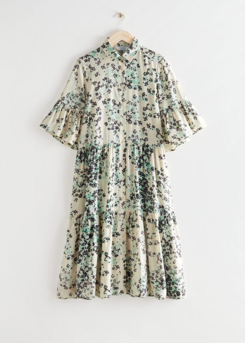 앤아더스토리즈 티어드 A 라인 미디 셔츠 드레스의 플로럴 프린트컬러 Product입니다.