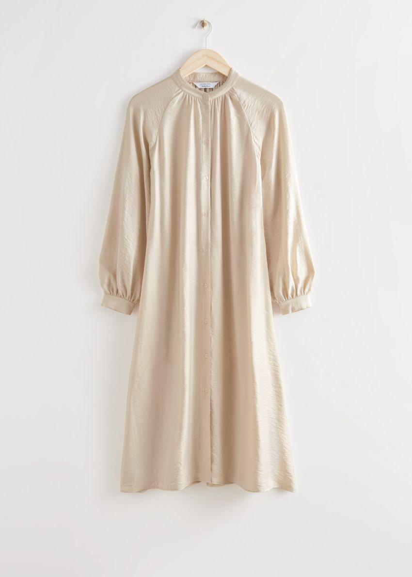 앤아더스토리즈 릴렉스드 벨티드 버튼 업 미디 드레스의 베이지컬러 Product입니다.