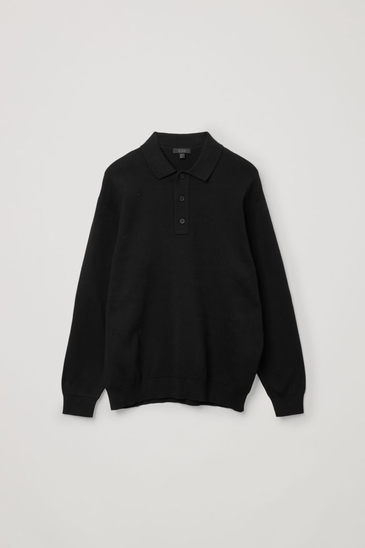 COS hover image 2 of 블랙 in 니티드 롱 슬리브 폴로 셔츠