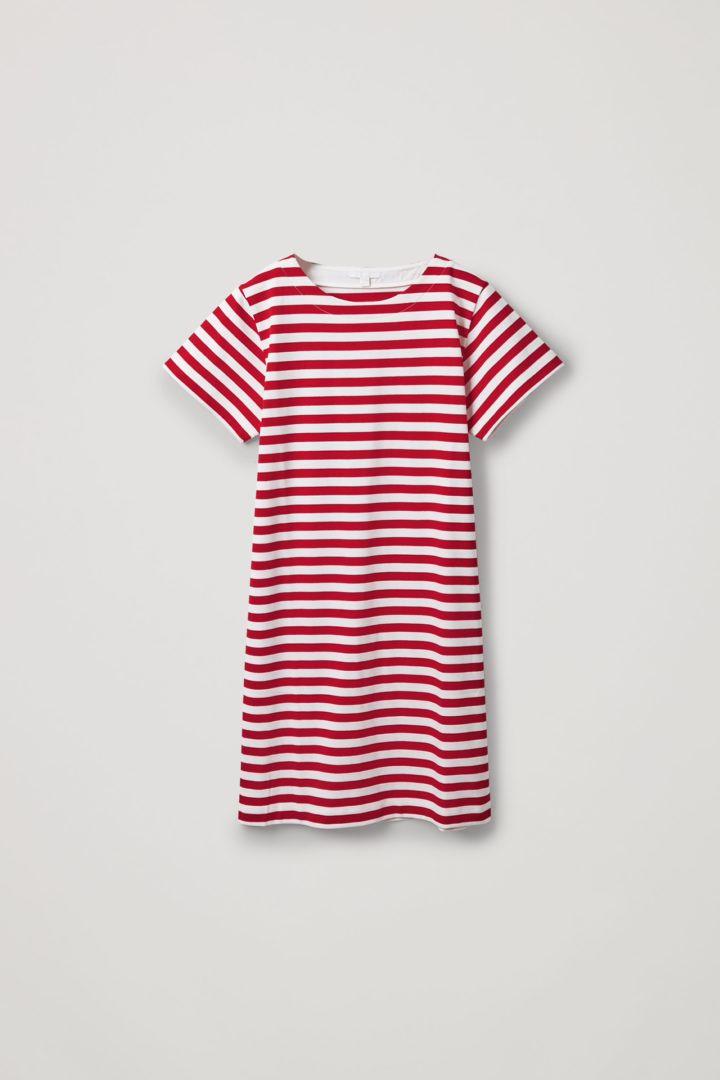 COS 스트라이프 코튼 티셔츠 드레스의 레드 / 화이트컬러 Product입니다.