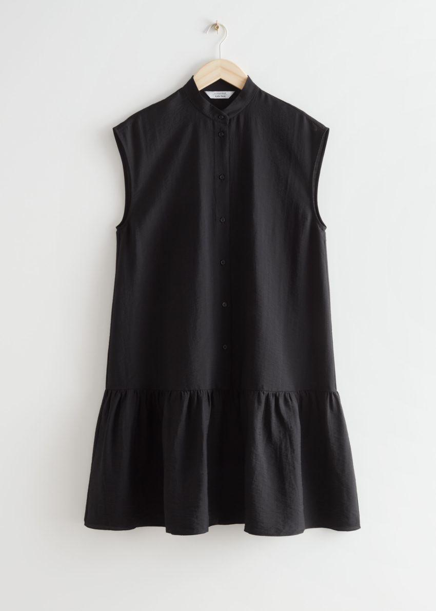 앤아더스토리즈 버튼 티어드 미디 드레스의 블랙컬러 Product입니다.