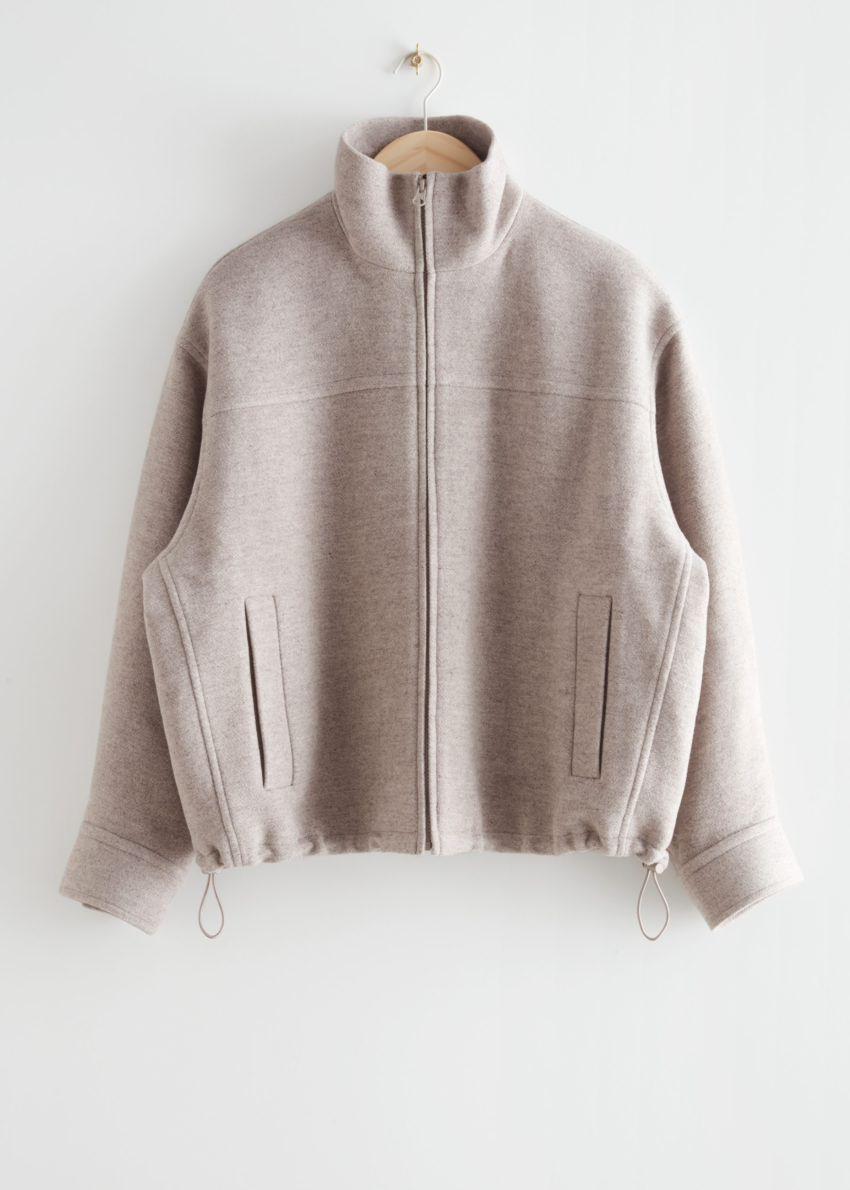 앤아더스토리즈 울 블렌드 집 재킷의 몰 멜란지컬러 Product입니다.