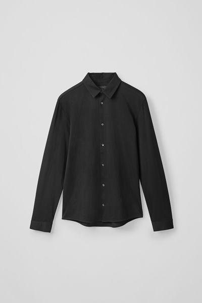 COS image 0 of 블랙 in 코튼 저지 셔츠
