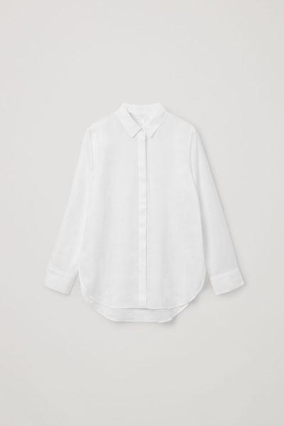 COS default image 9 of 화이트 in 쉬어 라미 셔츠