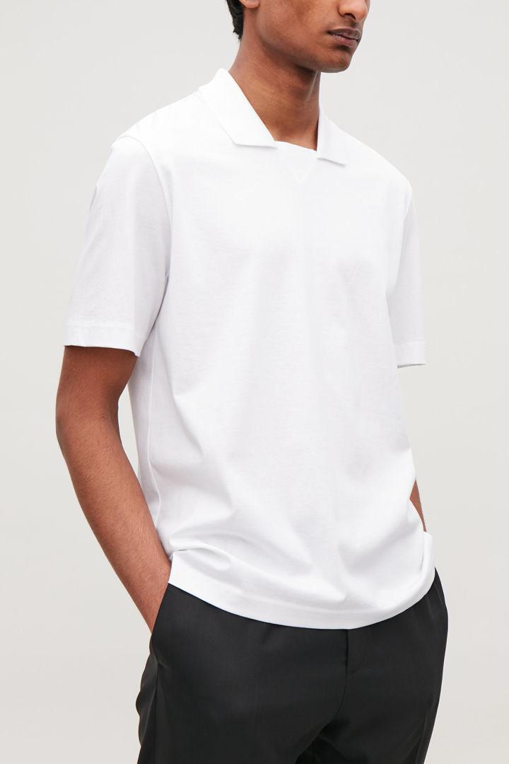 COS default image 6 of 화이트 in 저지 폴로 셔츠