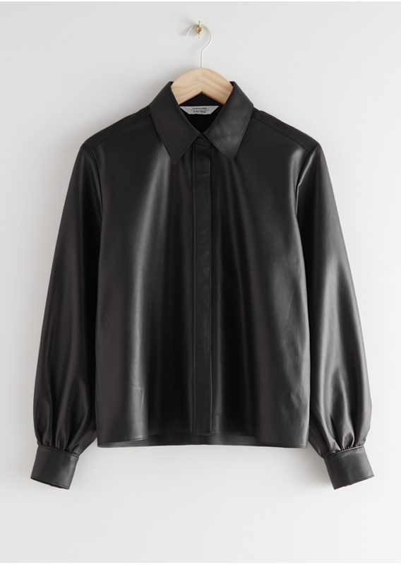 &OS image 14 of 블랙 in 스트레이트 레더 셔츠