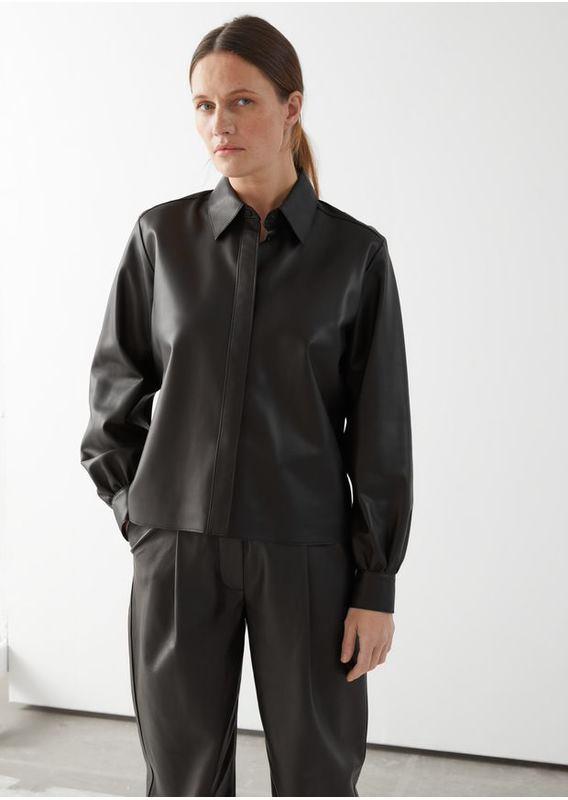 &OS image 1 of 블랙 in 스트레이트 레더 셔츠