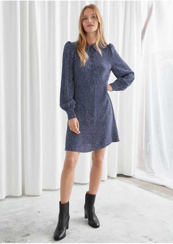 &OS image 8 of 블루 in 미니 셔츠 드레스