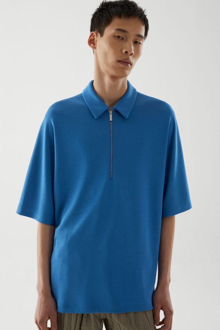 COS default image 5 of 블루 in 라이오셀 오버사이즈 폴로 셔츠