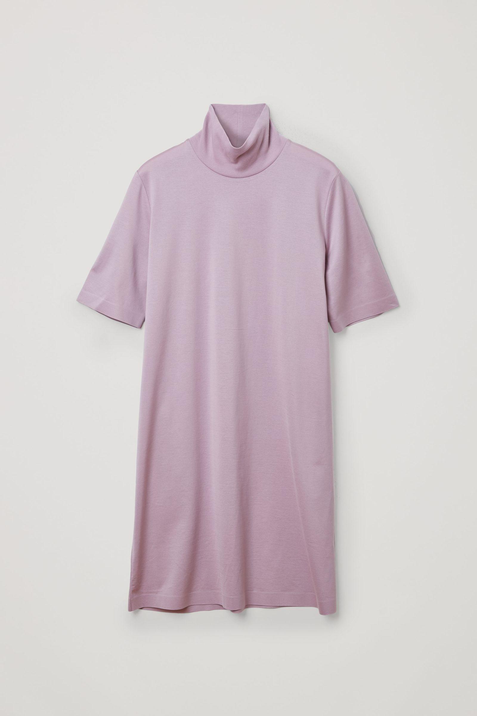 COS 코튼 롤넥 티셔츠 드레스의 라이트 퍼플컬러 Product입니다.