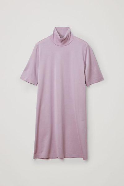 COS default image 2 of 퍼플 in 코튼 롤넥 티셔츠 드레스