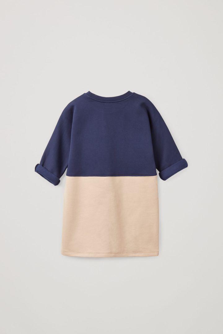 COS 오가닉 코튼 컬러 블록 스웻셔츠 드레스의 블루컬러 Product입니다.