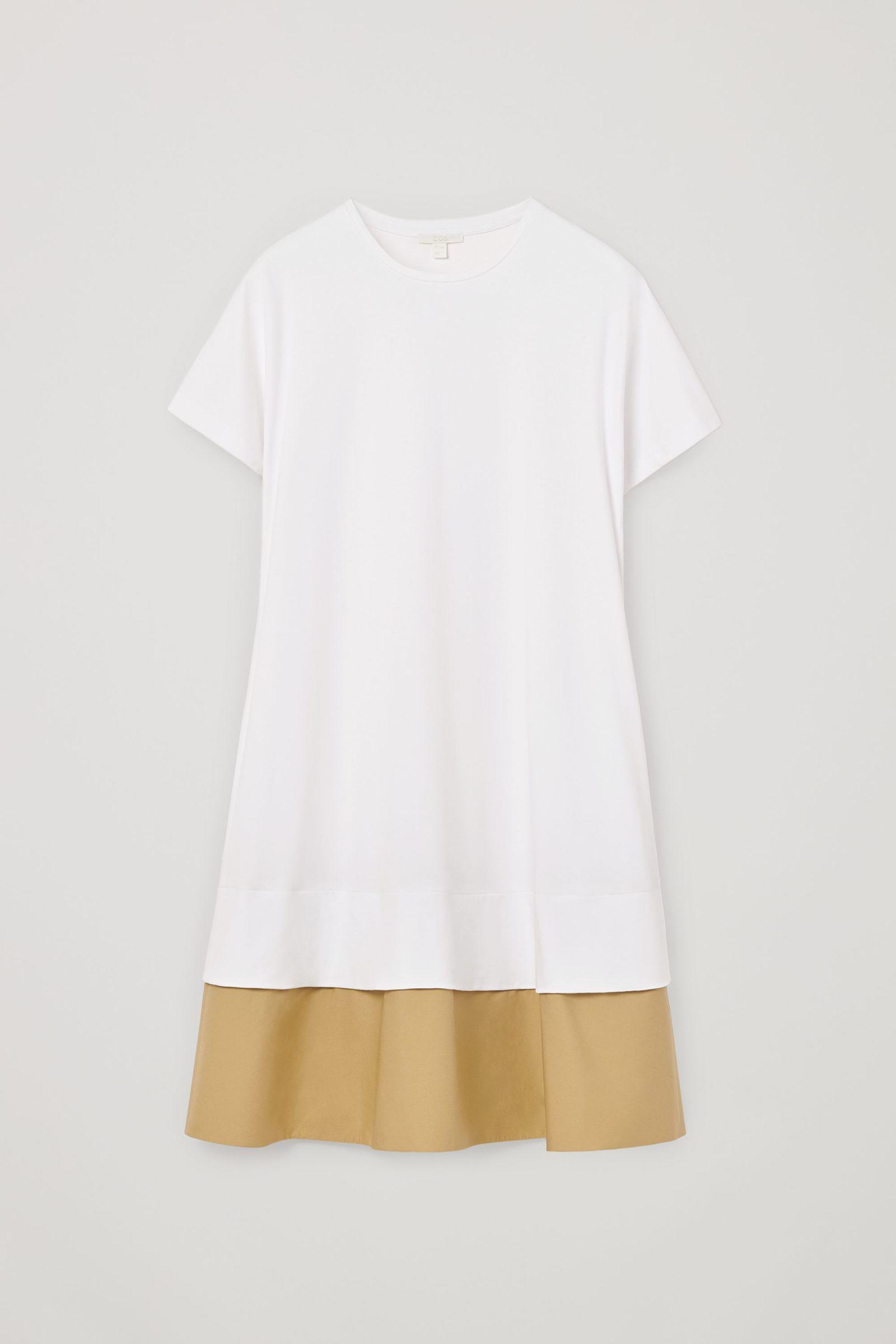 COS 컨트래스트 헴 드레스의 화이트컬러 Product입니다.