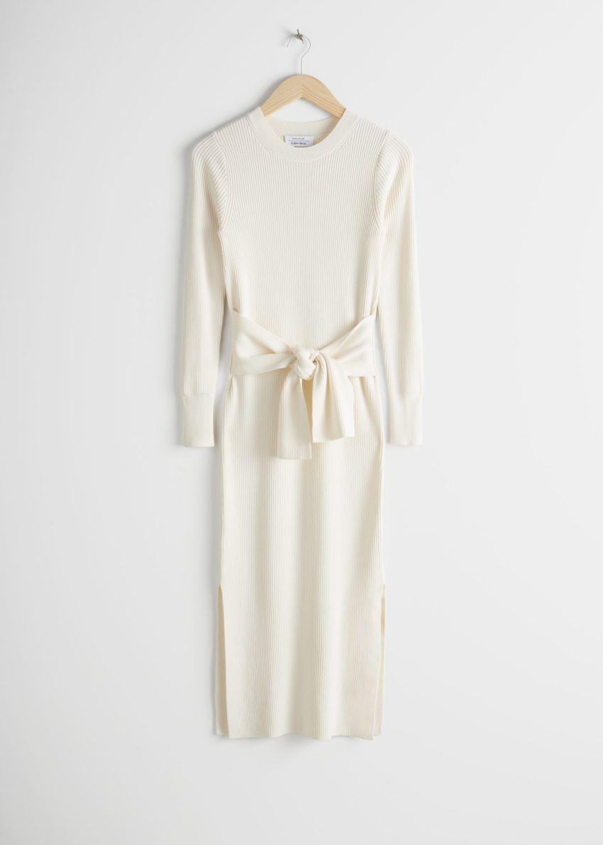 앤아더스토리즈 립 매듭 타이 벨티드 미디 드레스의 화이트컬러 Product입니다.