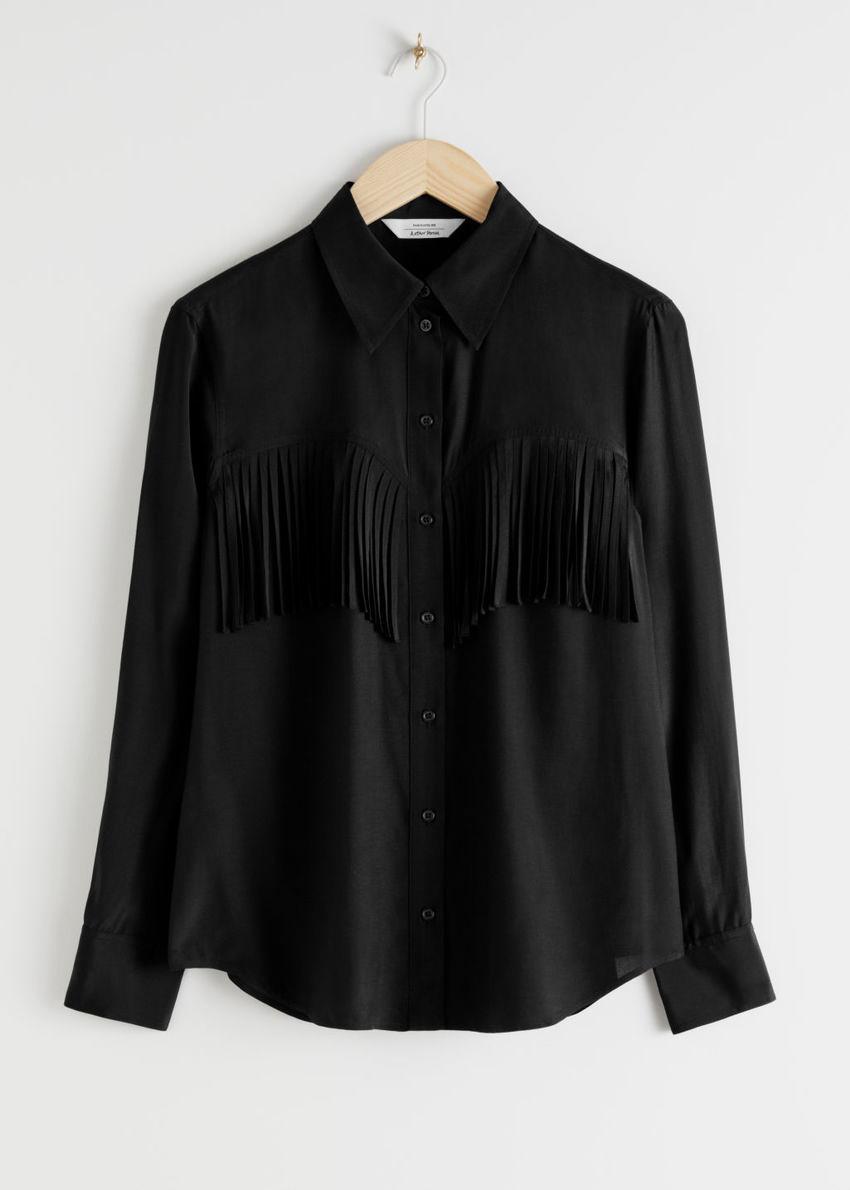 앤아더스토리즈 버튼 업 프린지 셔츠의 블랙컬러 Product입니다.