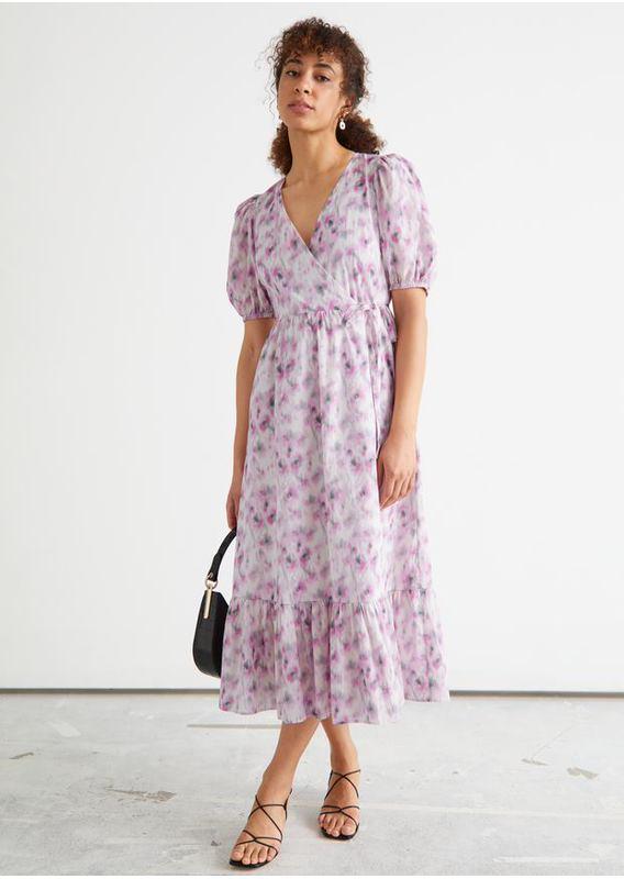 &OS image 3 of 블러리 플로럴 in 퍼프 슬리브 미디 랩 드레스