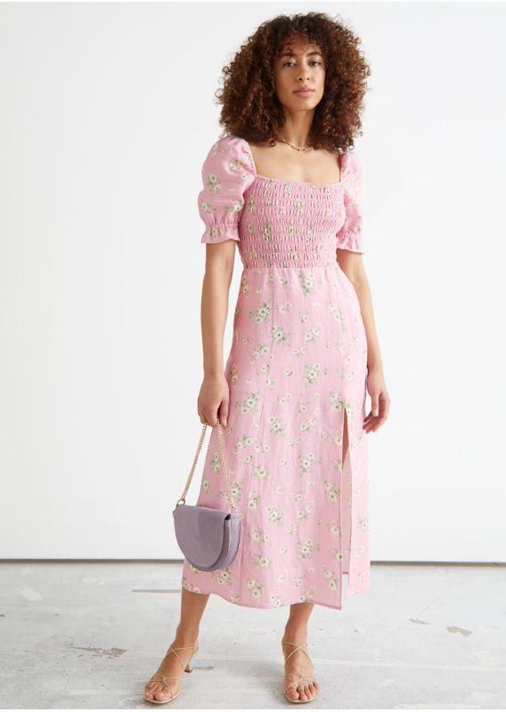 &OS image 27 of  in 프린트 퍼프 슬리브 리넨 미디 드레스