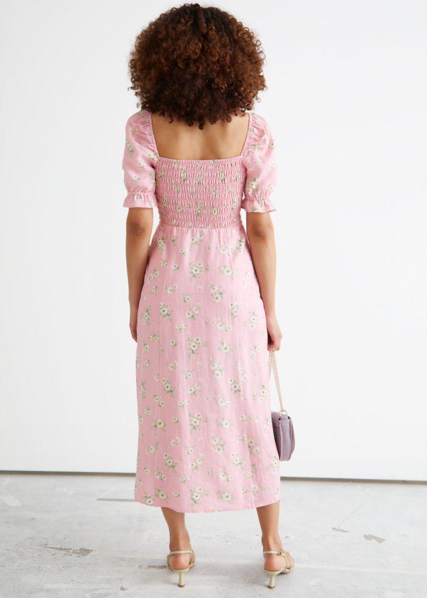 앤아더스토리즈 프린트 퍼프 슬리브 리넨 미디 드레스의 핑크 플로럴컬러 ECOMLook입니다.