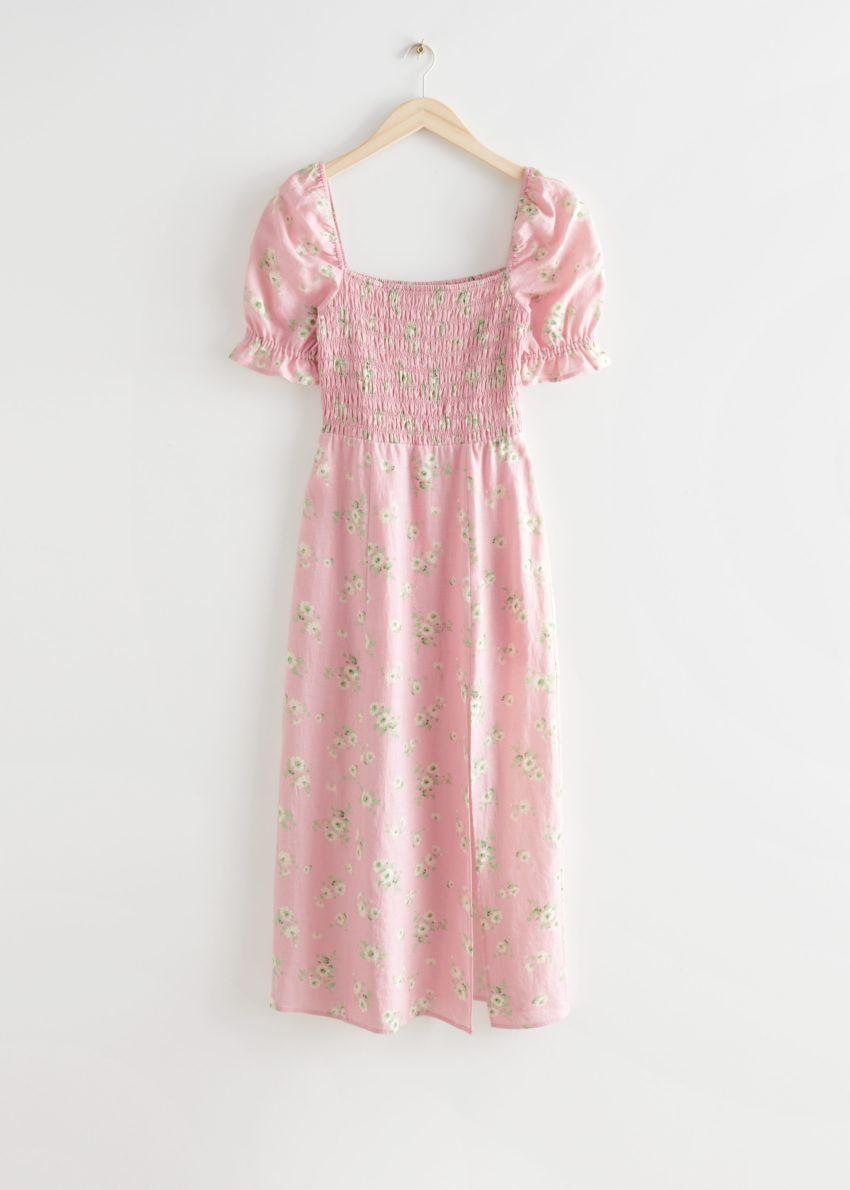 앤아더스토리즈 프린트 퍼프 슬리브 리넨 미디 드레스의 핑크 플로럴컬러 Product입니다.