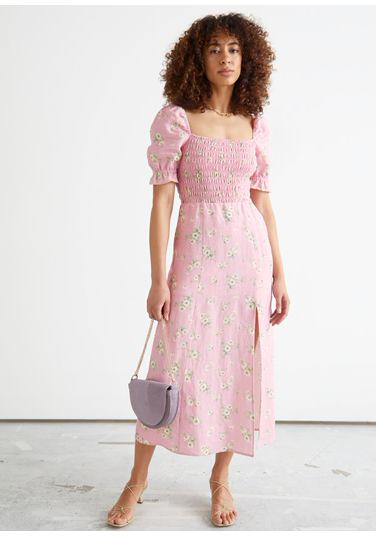 &OS image PRA default 5 of  in 프린트 퍼프 슬리브 리넨 미디 드레스