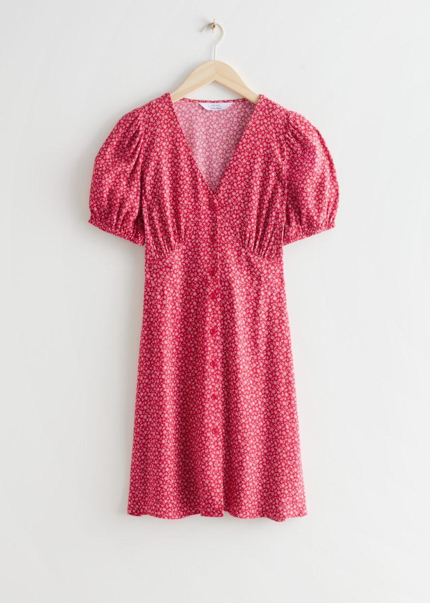 앤아더스토리즈 프린트 버튼 미니 드레스의 레드 프린트컬러 Product입니다.