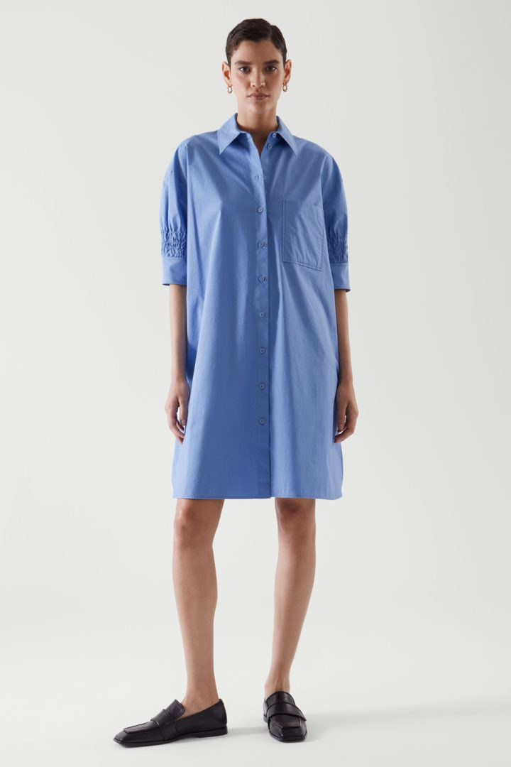 COS default image 11 of 블루 in 스모킹 셔츠 드레스