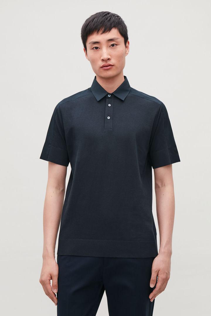 COS default image 7 of 블루 in 우븐 패널 폴로 셔츠