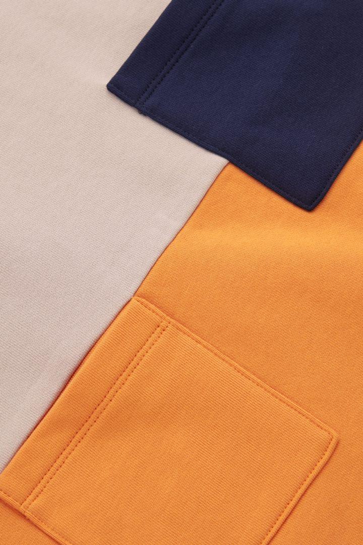COS 오가닉 코튼 컬러 블록 스웻셔츠 드레스의 베이지 / 오렌지 / 네이비컬러 Detail입니다.