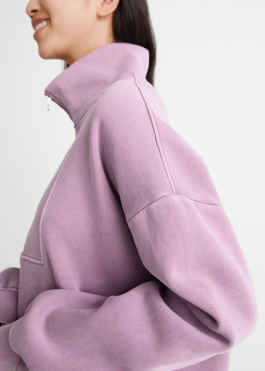앤아더스토리즈 소프트 하프-집 스웨터의 라일락컬러 ECOMLook입니다.