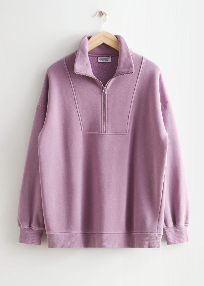 앤아더스토리즈 소프트 하프-집 스웨터의 라일락컬러 Product입니다.