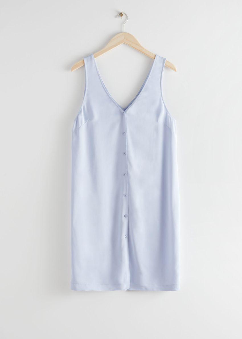 앤아더스토리즈 슬리브리스 버튼 업 미니 드레스의 라이트 블루컬러 Product입니다.