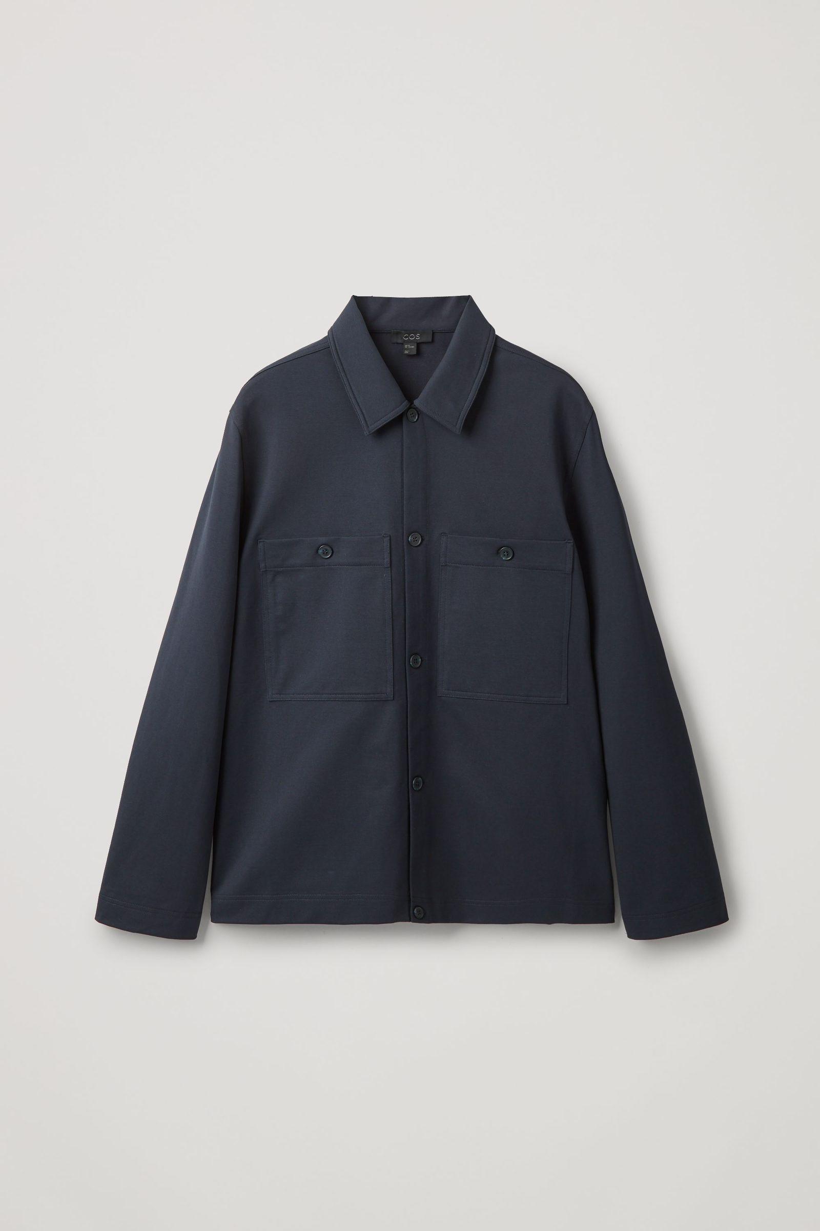 COS 오가닉 코튼 유틸리티 스타일 오버셔츠의 블루컬러 Product입니다.