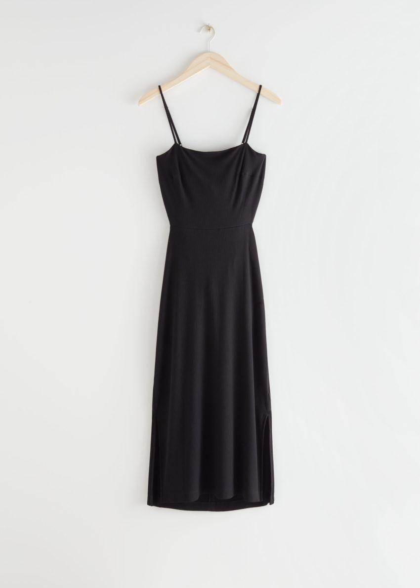 앤아더스토리즈 오픈 백 미디 드레스의 블랙컬러 Product입니다.