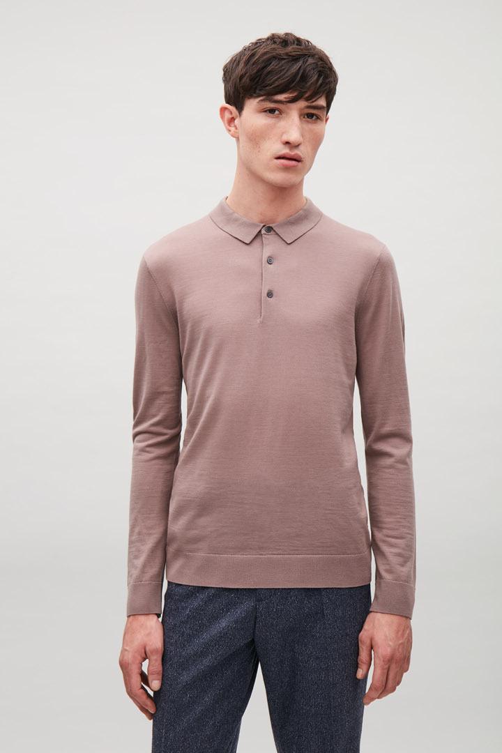 COS default image 3 of 핑크 in 메리노 폴로 넥 스웨터
