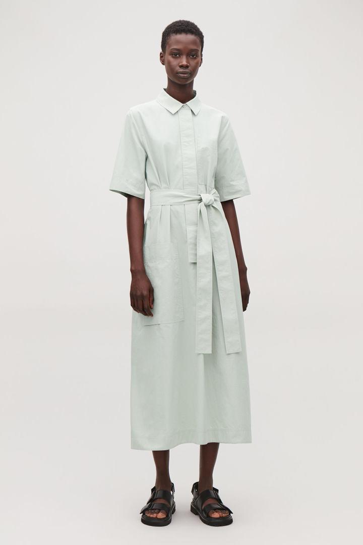 COS default image 10 of 그린 in 롱 타이 벨트 셔츠 드레스