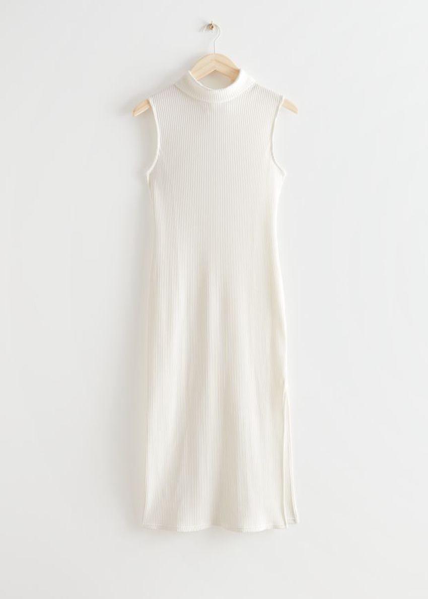 앤아더스토리즈 넥 타이 미디 드레스의 화이트컬러 Product입니다.
